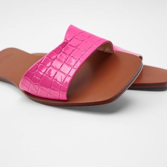 Zara | Animal Print Flat Sandals Pink Size 7.5